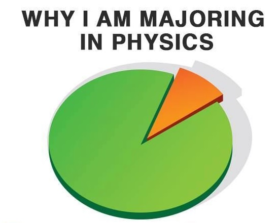 Picture of a pie chart explaining why one majors in physics