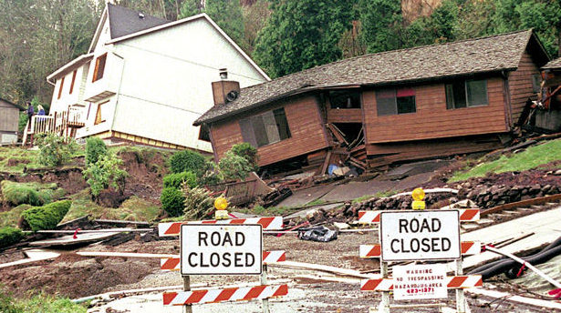 a typical example of Geologic Hazard with a house destroyed