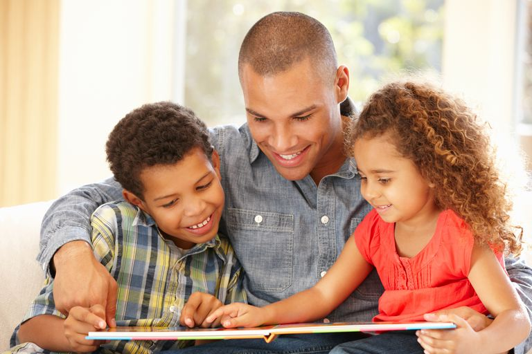 Picture of a father teaching kids to read