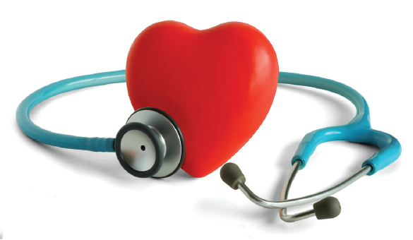 picture of a heart and stethoscope around it