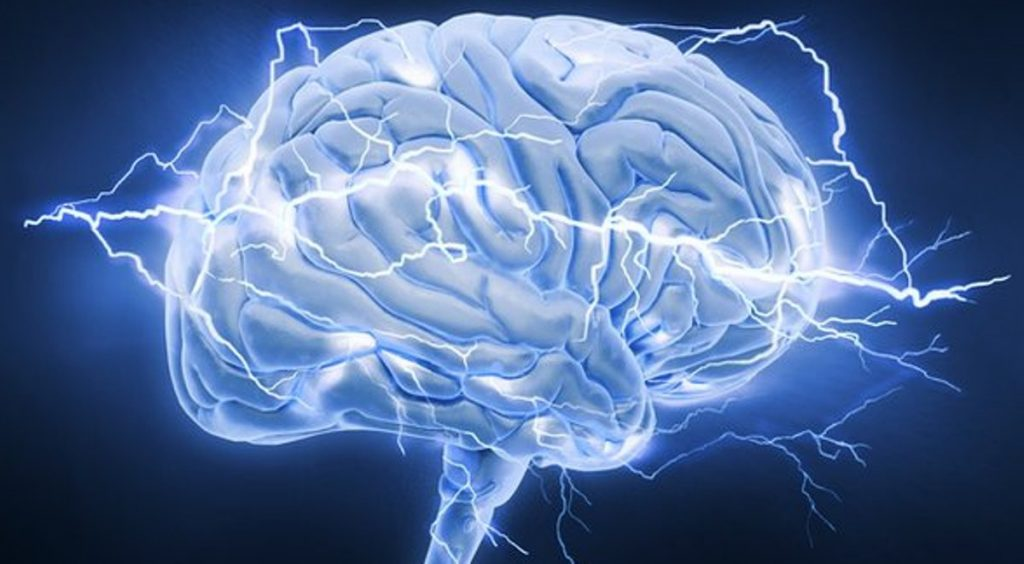 pictorial representation of the brain and its neurons acting like lightning