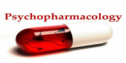 A red and white capsule with the word psychopharmacology whiten above it