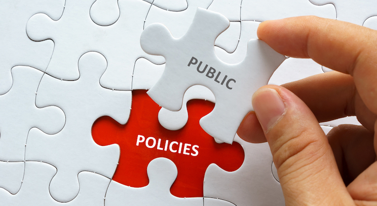 picture of puzzle piece with word public on it placed on blank space called policies