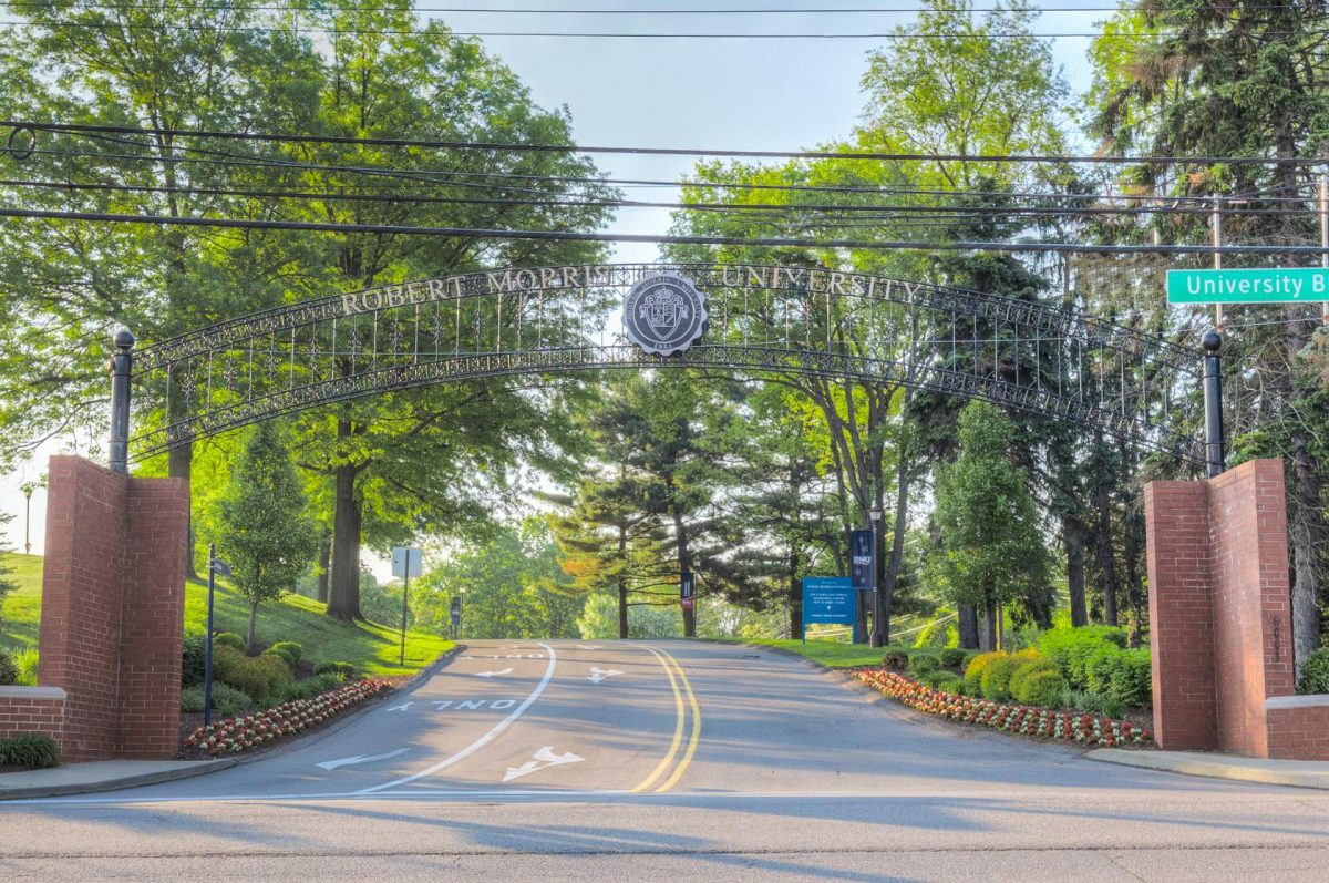 The entrance gate to Robert Morris University's campus