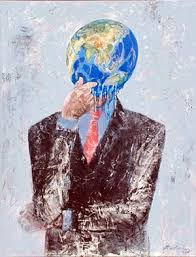 This image serves as a wonderful metaphor for geographic thought with a painting of a man's body thinking and the head of a globe.