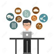 the different forms of media and a man with a laptop