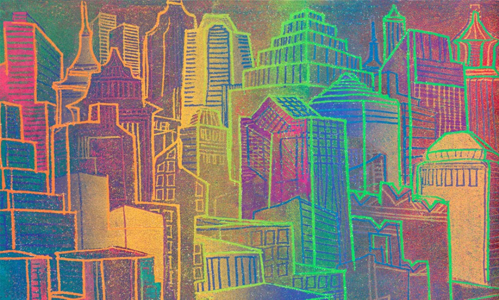 picture of a painting of buildings in different colours