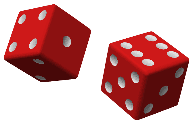 picture of two dice being rolled