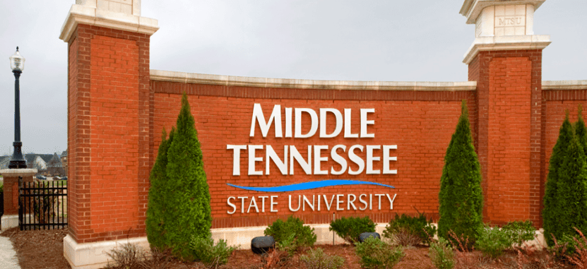 The main sign at the entrance of Middle Tennessee State University