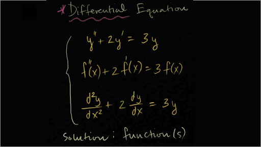 A solved differential equation on a black board