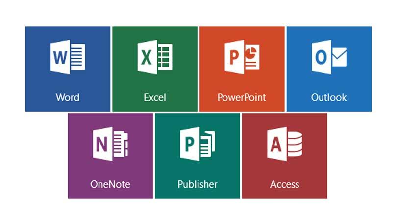 the different icons that are all part of microsoft office including Word, Excel, Powerpoint, etc.