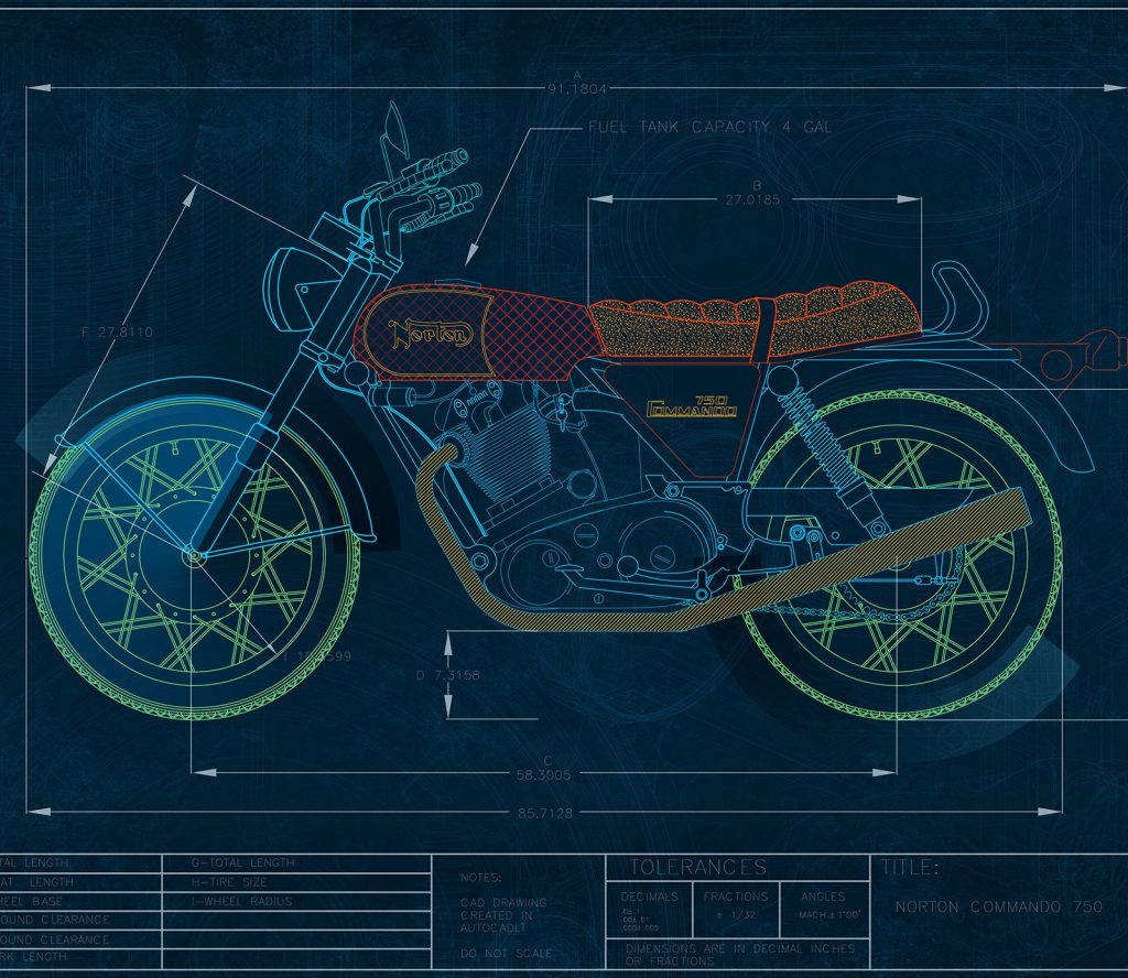 A student shows off his CAD motorcycle design.