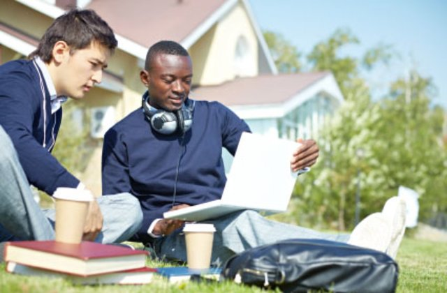 Students studying together on campus.
