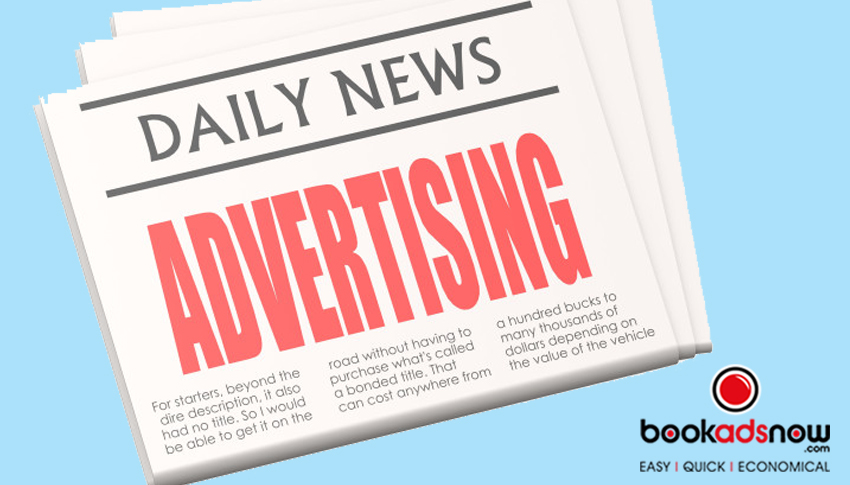 cartoon image of a newspaper with a title in red bolded letters that says Advertising