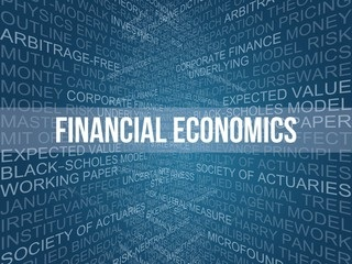 financial economics typography with related words in the background