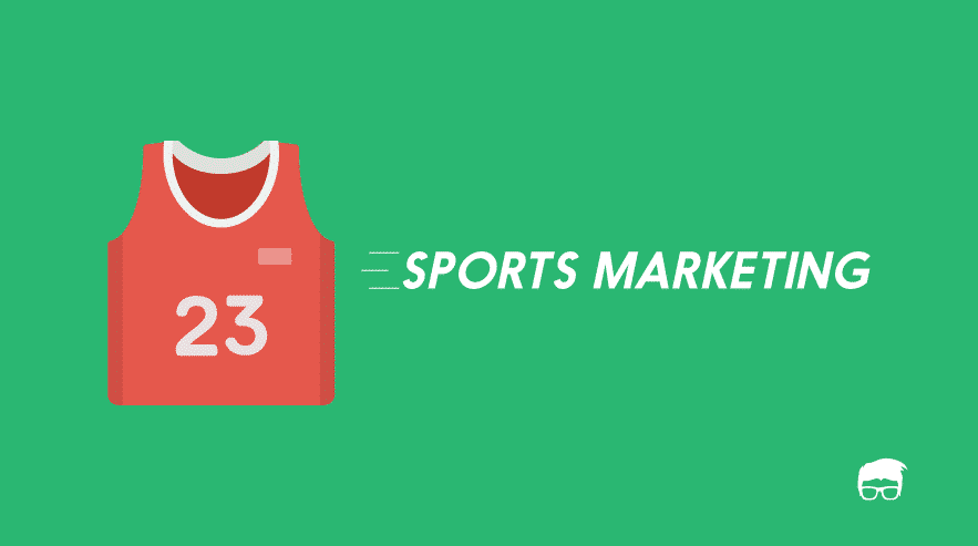 a cartoon sports jersey with words sports marketing beside
