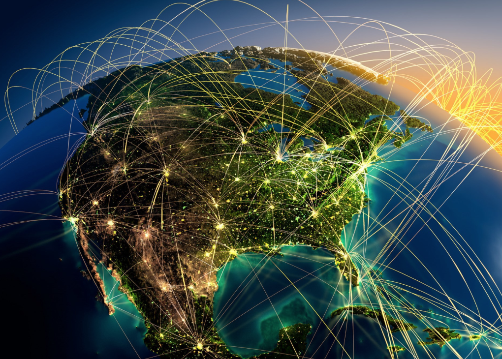 A web linking different locations around the globe