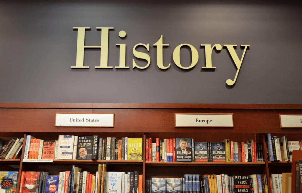 History section at a book store