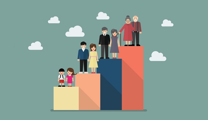 People generations bar graph. Vector illustration