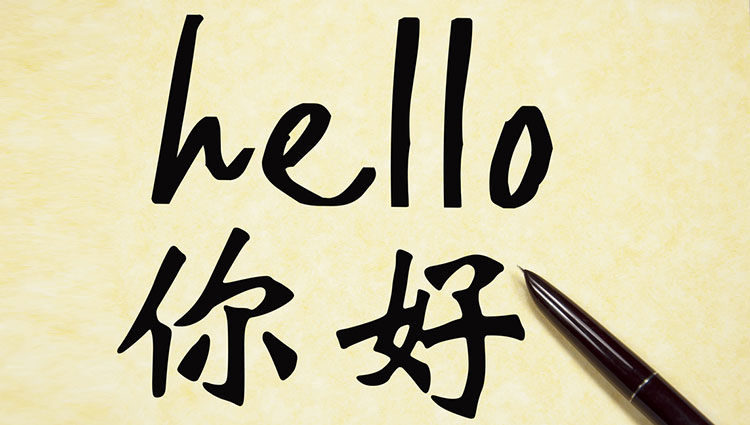 """Students learn the Chinese characters for """"Hello"""" in class."""