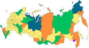 A map of the different regions in Russia