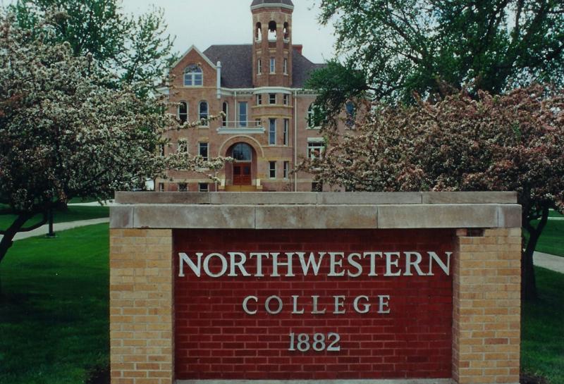 Zwemer Hall (view from college sign), Northwestern College