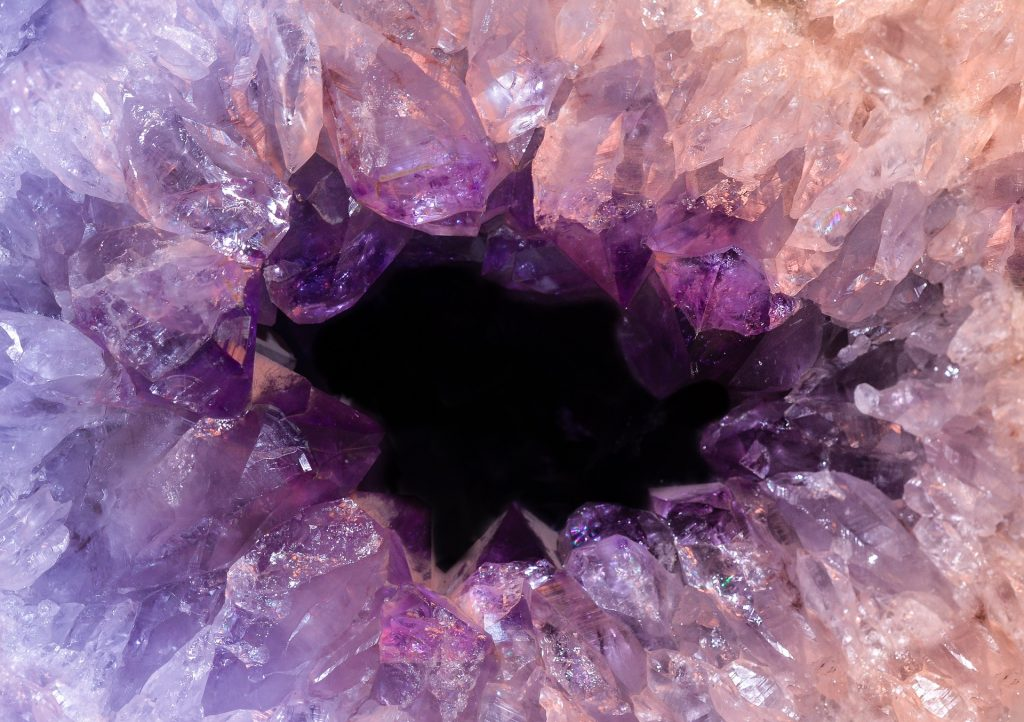 interior of a purple gem