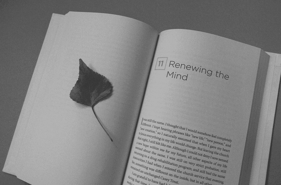 picture of open book with chapter saying renewing the mind