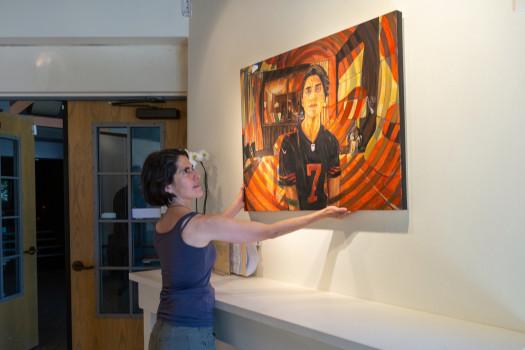 Mendocino Art Student in an art show.