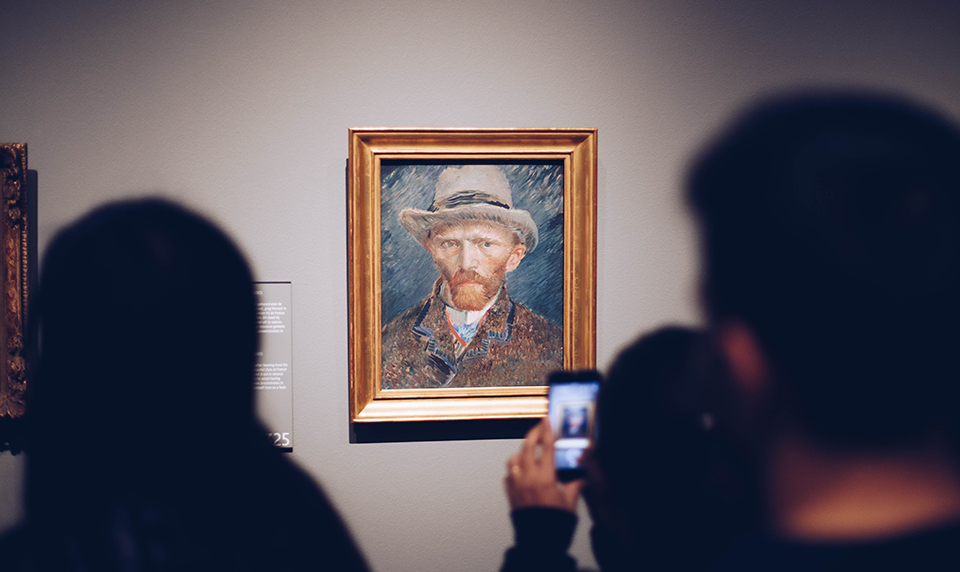 Studying art from around the world, such as this picture of the work of Van Gogh.