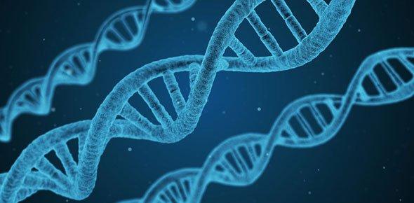 Close-up image of DNA strands.
