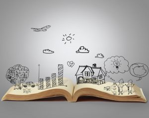 creativity in a book shown through 2d sketches that pop out of open book