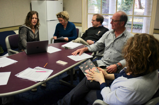 Mendocino faculty discussing about a new book released.