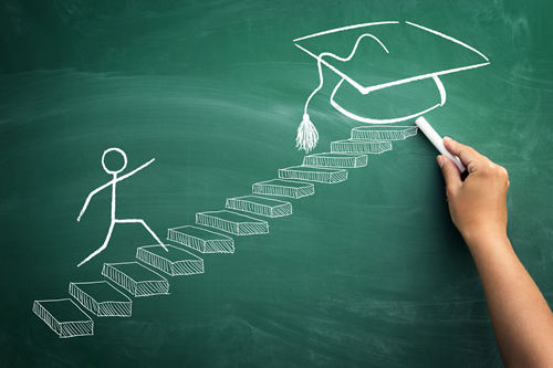 picture of person drawing with chalk. features stairs with stick figure going towards graduation cap