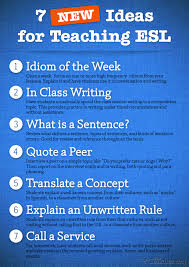 This graphic shows some tips for people teaching ESL