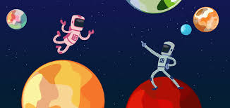 Cartoon of two astronauts on two different planets