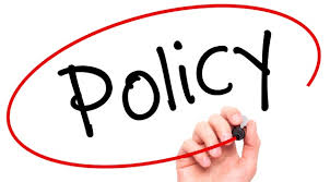 policy written with a red circle around it