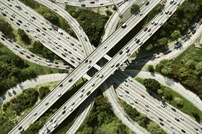 Overhead picture of highways from above