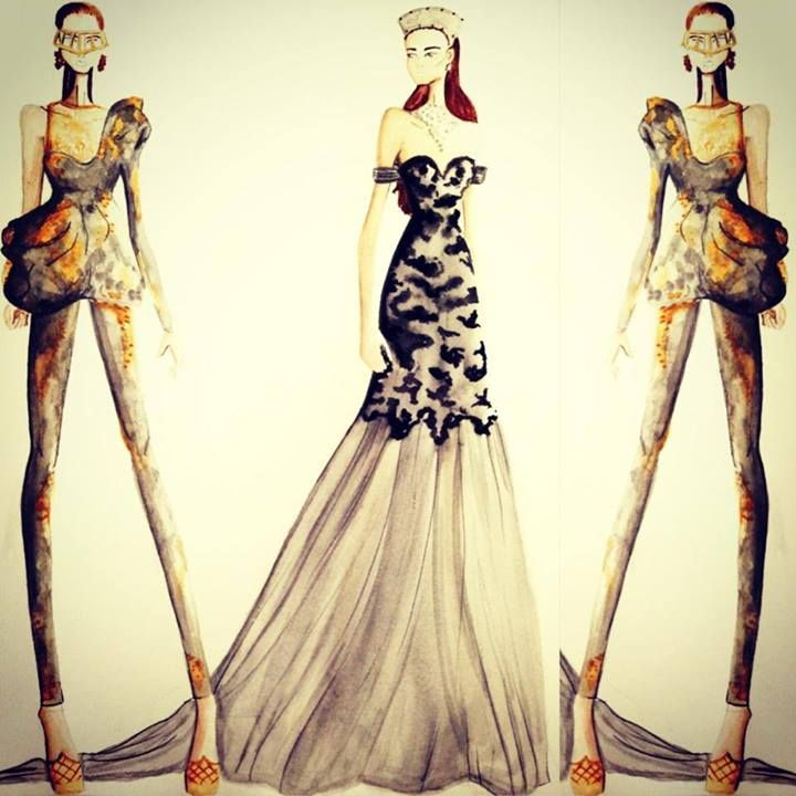 picture of fashion design sketches of different outfits