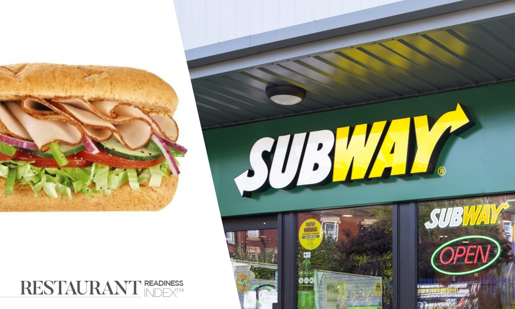 Front entrance of subway with half an image of a sandwich