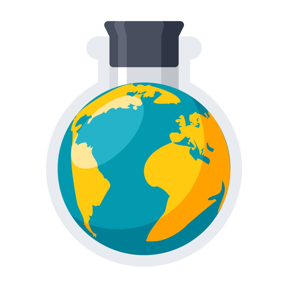 An image of the earth in a round-bottomed flask