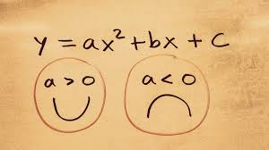 picture of an equation that shows a trick for knowing if the parabola faces up or down based on the value of a