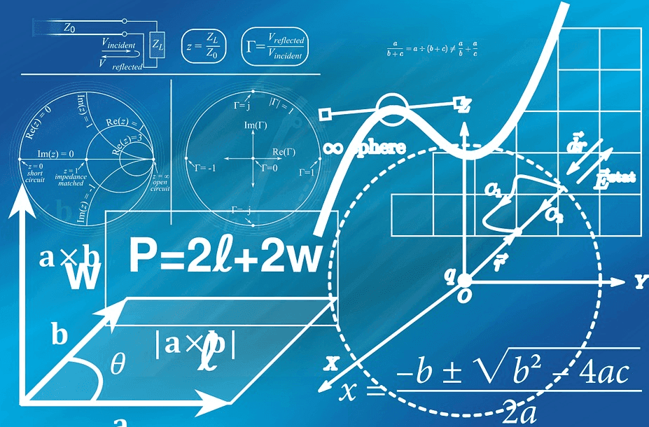 math formulas with a blue background