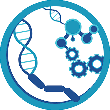 Icon of microbiology with DNA strands, bacteria, mocules and cogs