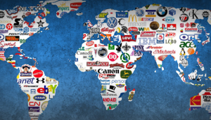 map of the world filled with names and logos of multinational corporations