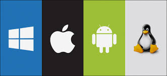 Types of operating systems represented by logos