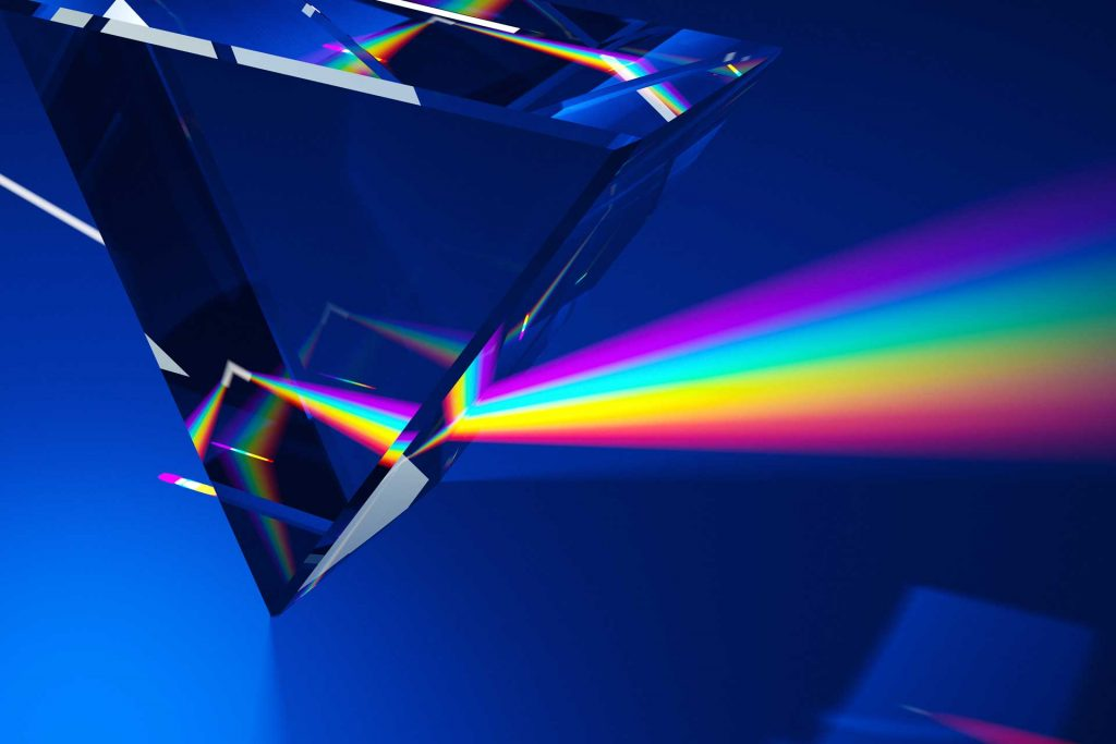Light refracting through a prism showing the rainbow of colors