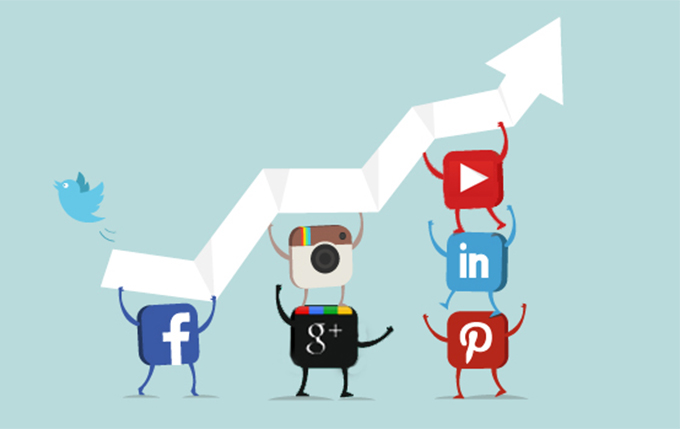 logos of different social medias holding up an arrow from a graph that's growing upwards