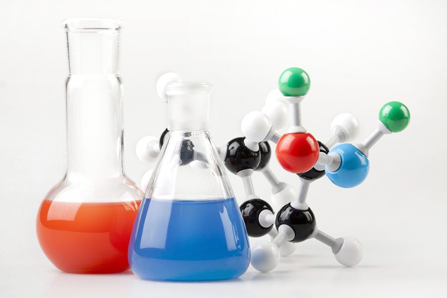beakers and chemical models