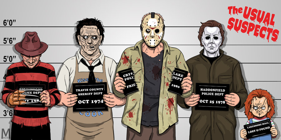 Illustration of fictional serial killers from horror movies.
